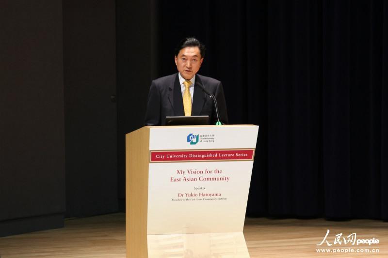 日本前首相鸠山由纪夫在香港城市大学发表演讲。(摄影:曹海扬)