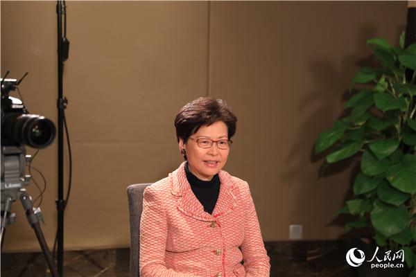 香港特别行政区行政长官林郑月娥在北京接受人民网专访。人民网记者 贾文婷摄